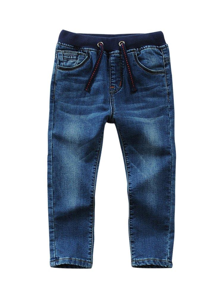 LISUEYNE Baby Boy Summer Spring Casual Blue Jean Long Holey Ripped Jeans Elastic Band Denim Long Jeans for Boys Blue Belt Jeans 130