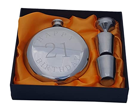 Image Unavailable Not Available For Color Happy 21st Birthday Flask Gift Set