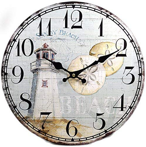 Wall Clock Wood Lighthouse Decorative 13 Inch Beach Theme Perfect Decor for Kitchen Bathroom Office Rustic Battery Operated Clocks Great Nautical Theme for Bedroom Ocean Decoration Ticking Tropical