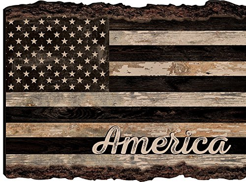 (American Flag Rustic Distressed 9 x 12 Wood Bark Edge Design Wall Art Sign)