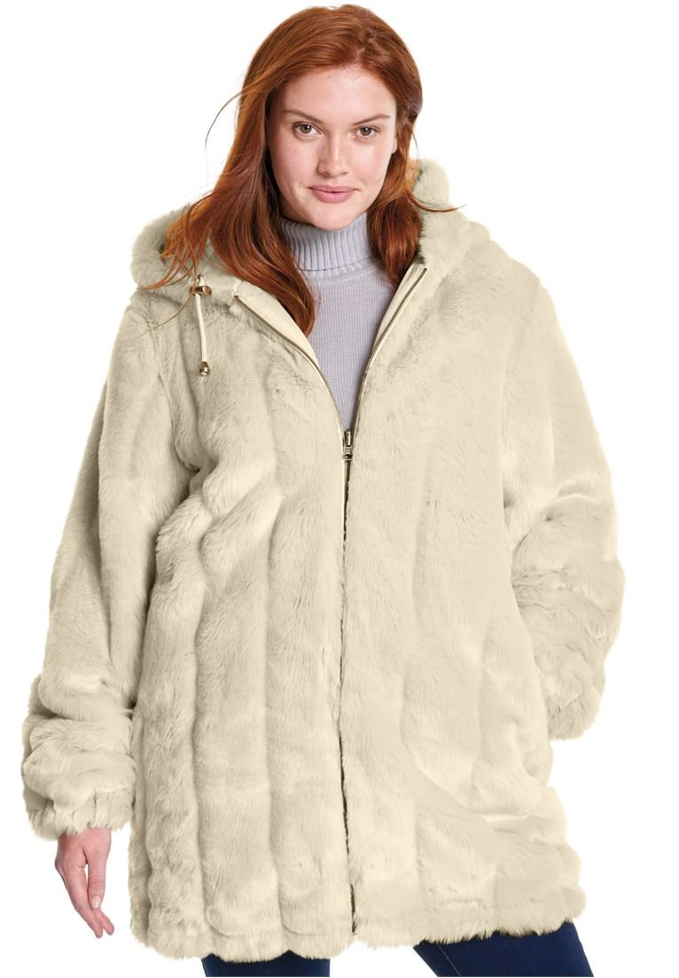Woman Within Women's Plus Size Jacket, Hooded In Faux Fur Oatmeal,2X