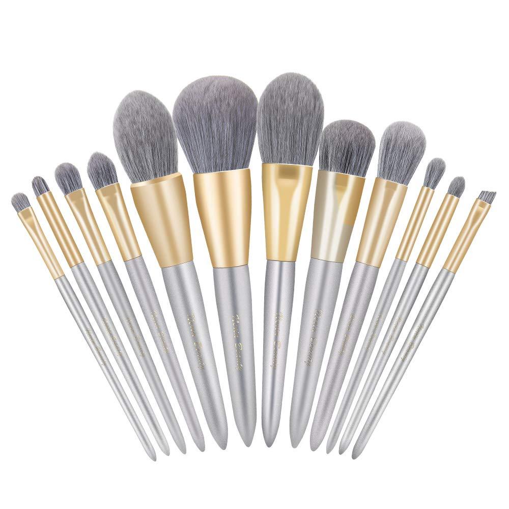 Neria Makeup Brushes Set 12Pcs Face Powder Brush Highlighter Eyeshadow Cruelty-Free Foundation Professional Make Up Brush Kits