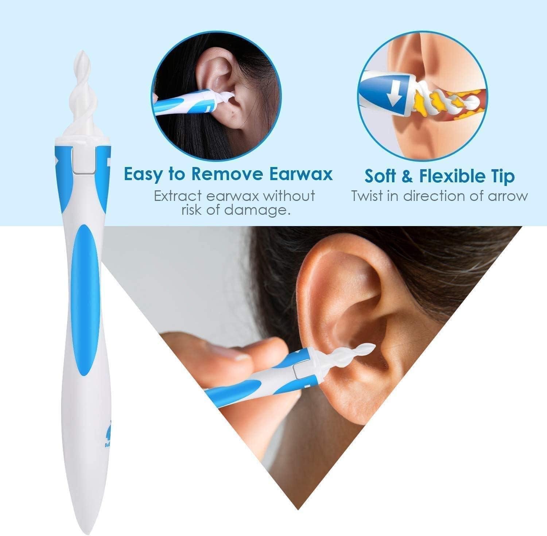 Ohrenreiniger f/ür Menschen,Spirale Silikon Ohrenschmalz Entferner Mit 16 Ersatzk/öpfen,Intelligentes Ohrenschmalzentferner f/ür Jugendliche und Erwachsene