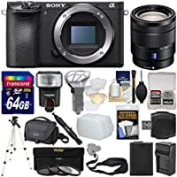 Sony Alpha A6500 4K Wi-Fi Digital Camera Body with 16-70mm f/4.0 Lens + 64GB Card + Case + Flash + Battery & Charger + Tripod + Kit