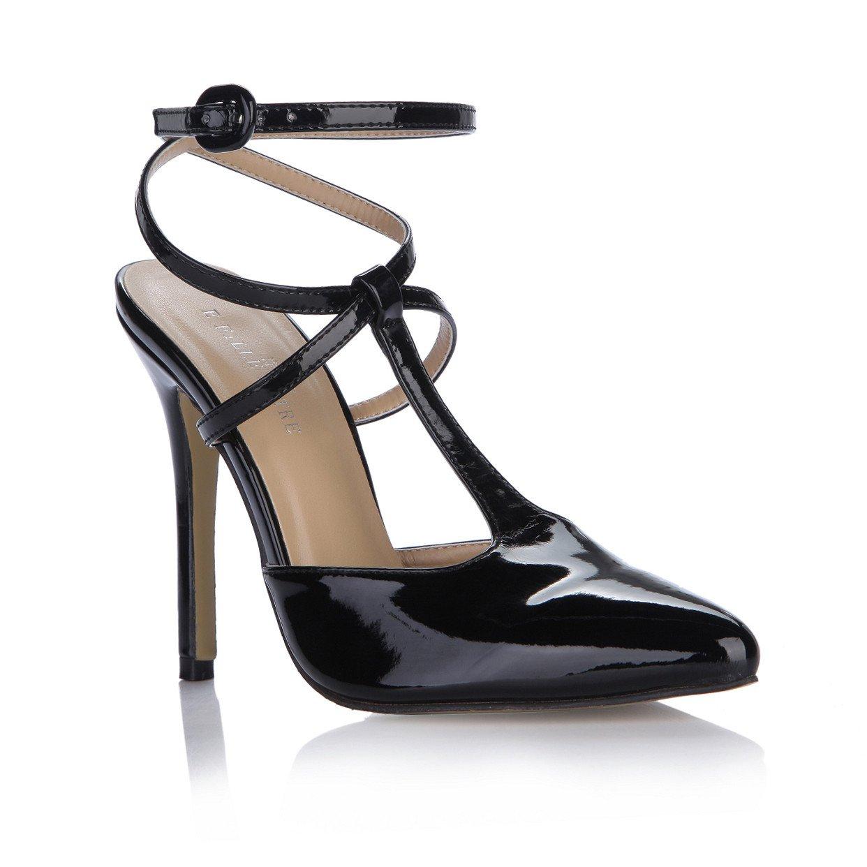 Stilvolle neue weibliche Sandalen jährliche Sitzungen, die in den Leder high-heel Schuhe maximalen mit Schwarz lackiertem Leder den Schuh Punkte schwarz 745a98