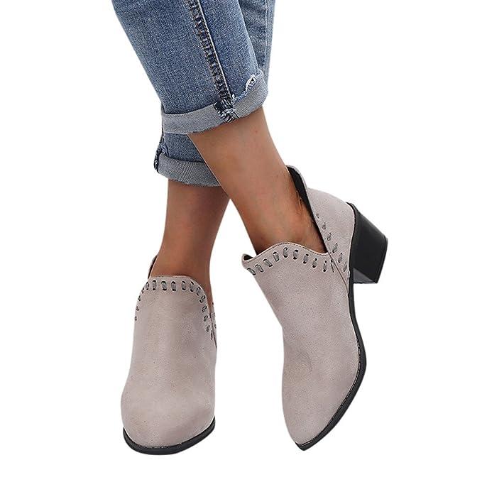 ❤ Botas de Mujer de la Vendimia, señoras otoño Zapatos Tobillo sólido Romano Botas Cortas Zapatos Solos Antumn Absolute: Amazon.es: Ropa y accesorios