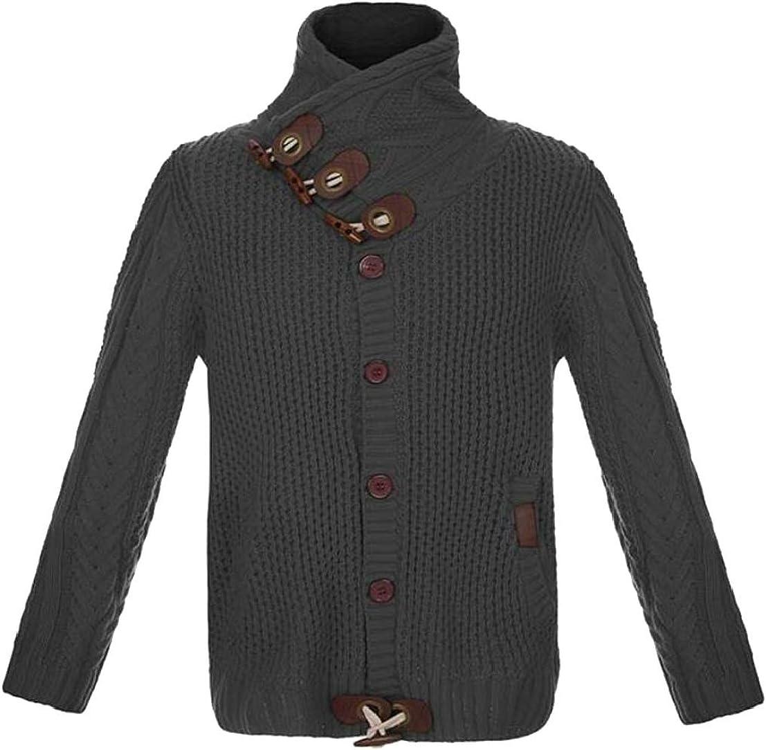Generic Mens Winter Warm Button Down Knitting Big-Tall Solid Slim Sweaters