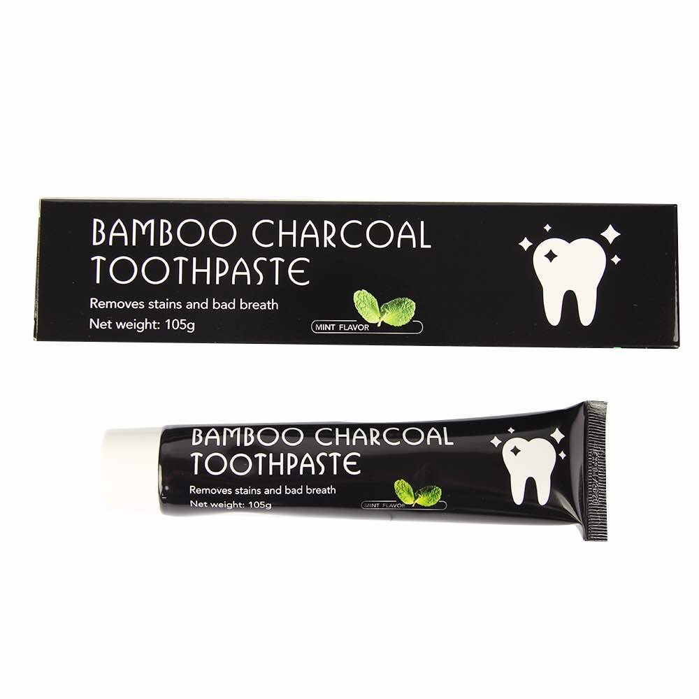 Organic Dentals Activated Charcoal Teeth Whitening Toothpaste - Mint Flavor - Eliminates Bad Breath - Removes Yellow Stains - Bamboo Charcoal Toothpaste - 105g (3.7oz)