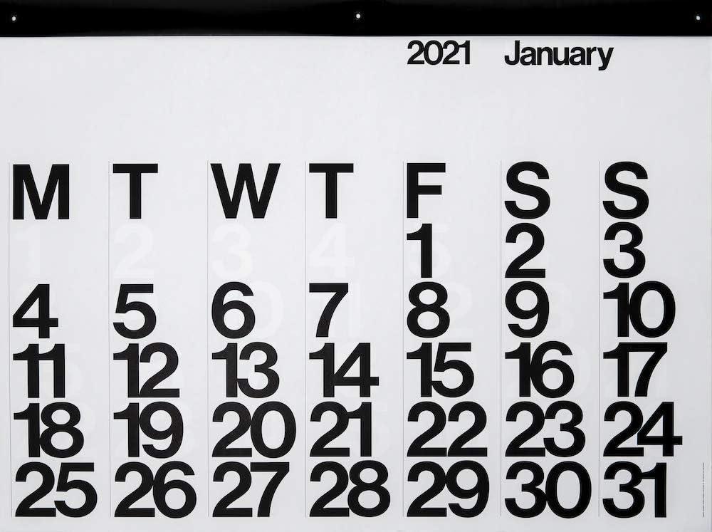 Stendig 2021 Wall, Office, and Home Calendar | Authentic Original Design of Massimo Vignelli
