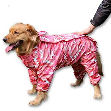 half off brand quality wholesale price ZoonPark Dog Raincoat,Four-legged Full body Raincoat Waterproof Polyester  Adorable Hoodie Poncho Clothes Raincoat for Medium Dogs