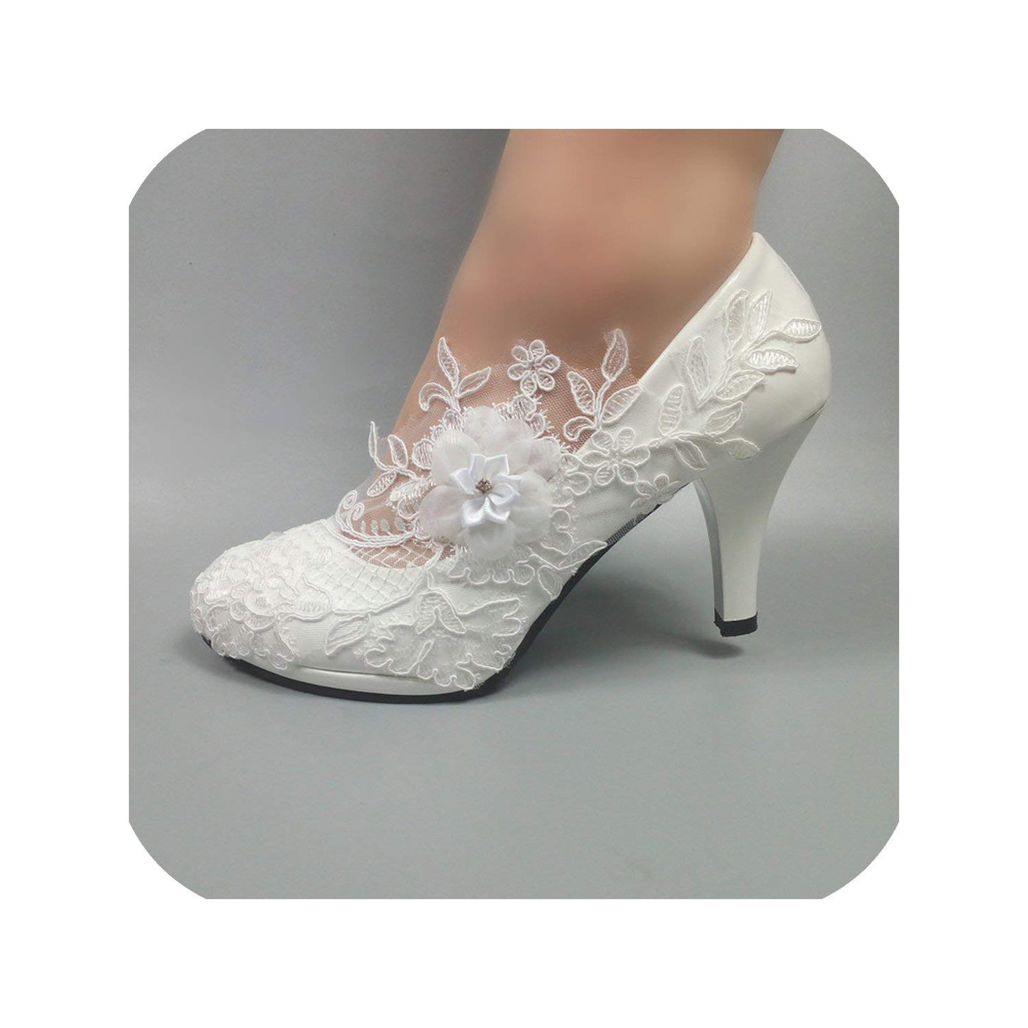 11cm heel White Flower Pumps New Womens Wedding shoes Bride High Heels Platform shoes