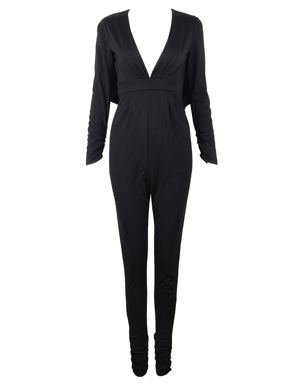 Meilun Women's Deep V Neck Wrap Top Long Sleeve Cocktail Knit Jumpsuit