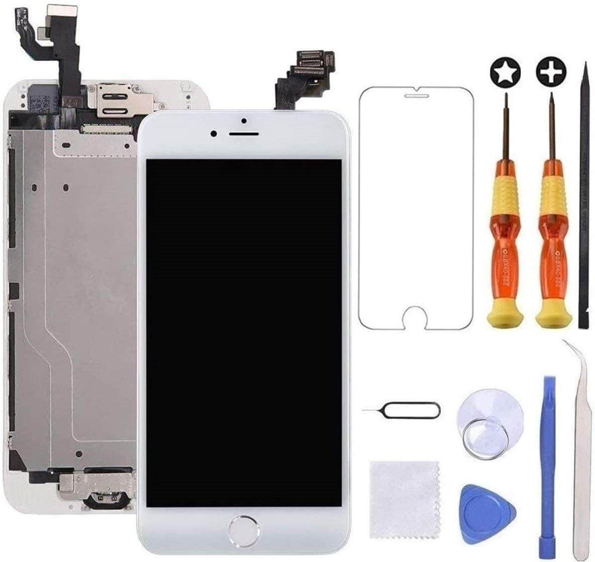 Brinonac for iPhone 6 Plus Screen Replacement White Touch Display LCD Digitizer Full Assembly with Front Camera,Proximity Sensor,Ear Speaker and Home Button Including Repair Tool and Screen Protector
