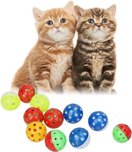 18pcs Pet Cat Kitten Play Balls with Jingle Bell Pounce Chase Rattle Toy Stylish and Populardurable