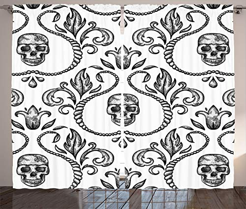 - Ambesonne Gothic Decor Collection, Ornament with Skull Goth Skeleton Floral Design in Baroque Style Illustration Design, Living Room Bedroom Curtain 2 Panels Set, 108 X 84 Inches, White Grey