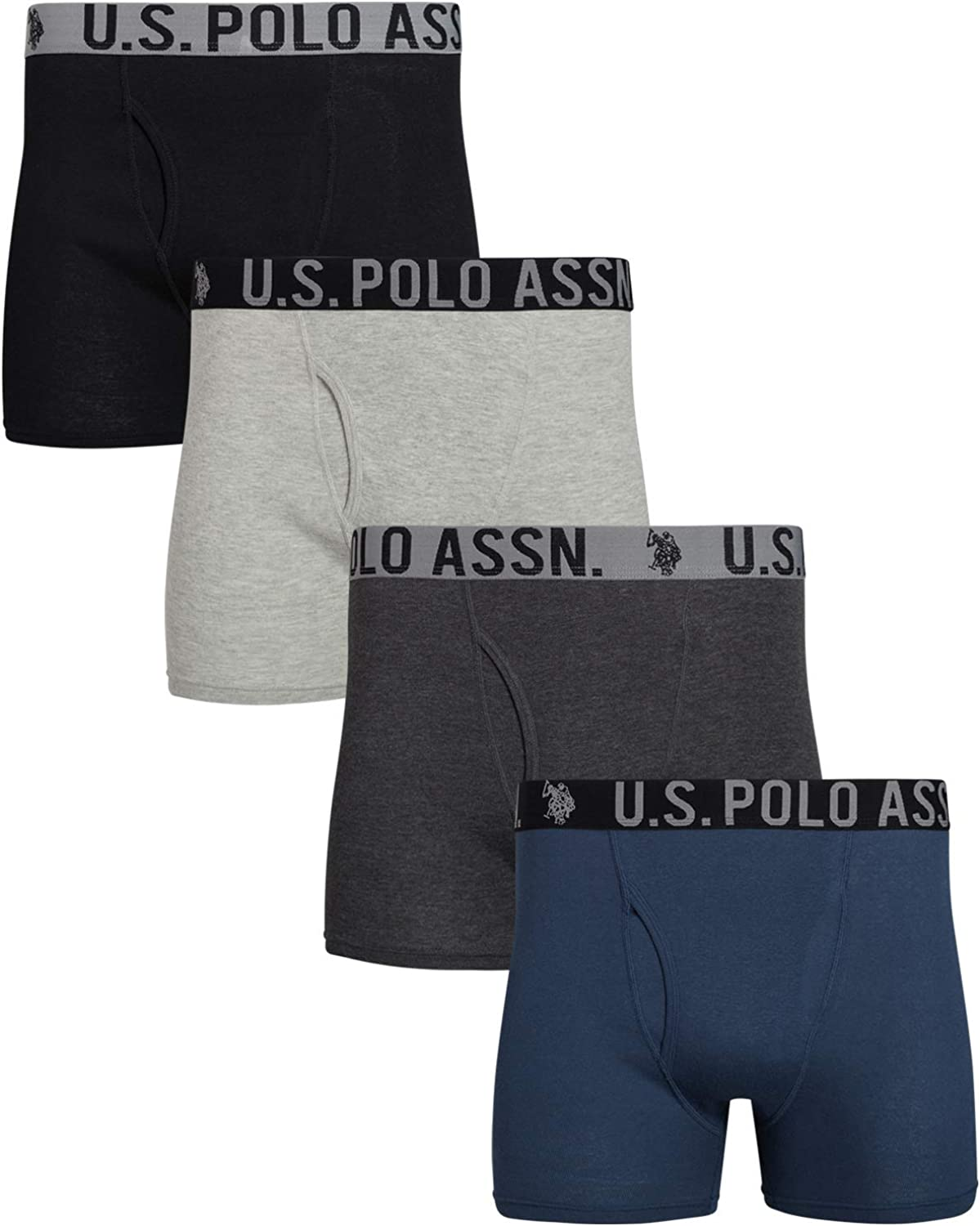 U.S. Polo Assn. Men's Cotton Boxer Briefs Underwear with Functional Fly (4 Pack)