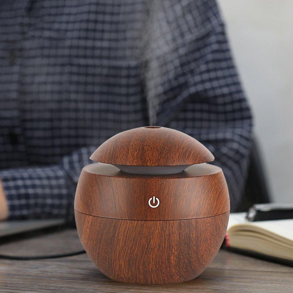 Kangkang@ 130ML Mini Portable USB Wood Grain Sonic Aromatherapy Humidifier Office Desktop Home Travel Water Spray Mist Humidifier
