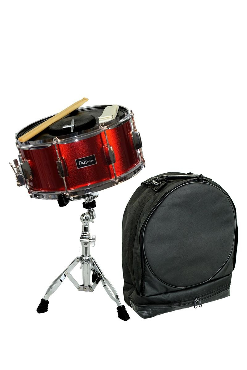 Directly Cheap Concert Snare Drum, Metallic Red (DRMS14-MRQ+Free Lessons)