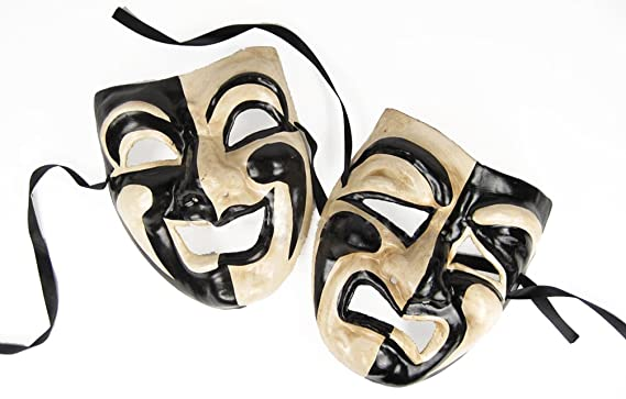 amazon com comedy tragedy mask set black off white clothing