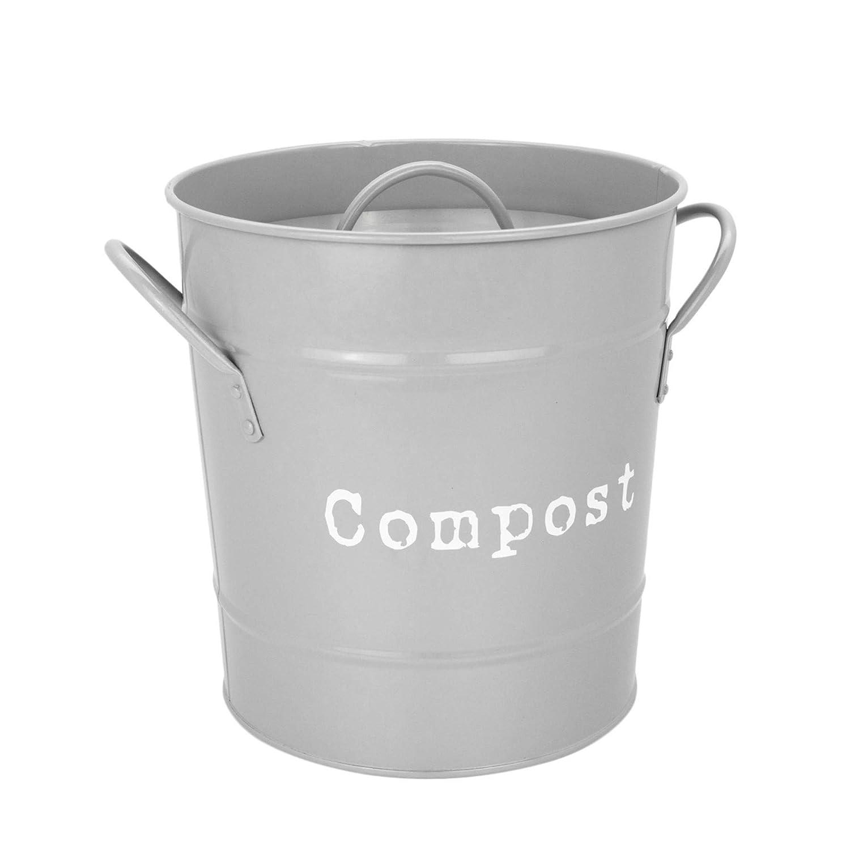 Charmant Amazon.com : Harbour Housewares Kitchen Compost Bin With Lid In Vintage  Metal   Grey : Garden U0026 Outdoor