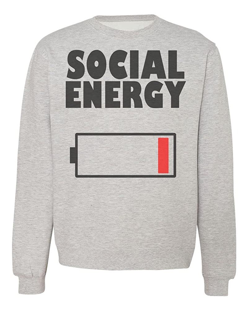 Social Energy Battery Icon at The Lowest Point Mens Womens Unisex Sweatshirt