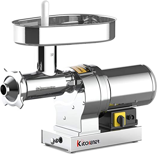 Kitchener Electric Meat Grinder & Sausage Stuffer #32 1.5 HP 1080 LBS  Per/Hr 550 Watts Elite Super Heavy Duty Stainless Steel Body Commercial  Grade ...
