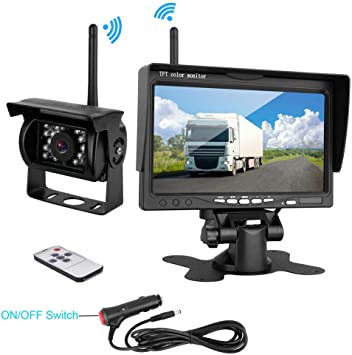 "Wireless IR Night Vision Backup Rear View Camera 7/"" HD Monitor for RV Bus Truck"