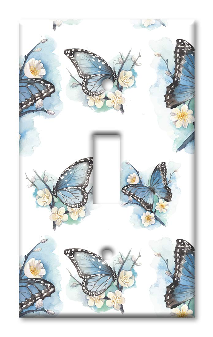 Art Plates 1 Gang Toggle Wall Plate Blue Butterflies On White Flowers Amazon In Home Improvement