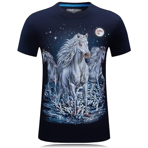 Cayuan Manga Corta Camisetas para Hombres 3D Horse Animal Impreso tee Shirt Verano Suelto Divertidos Tops Plus Size 7hWO3