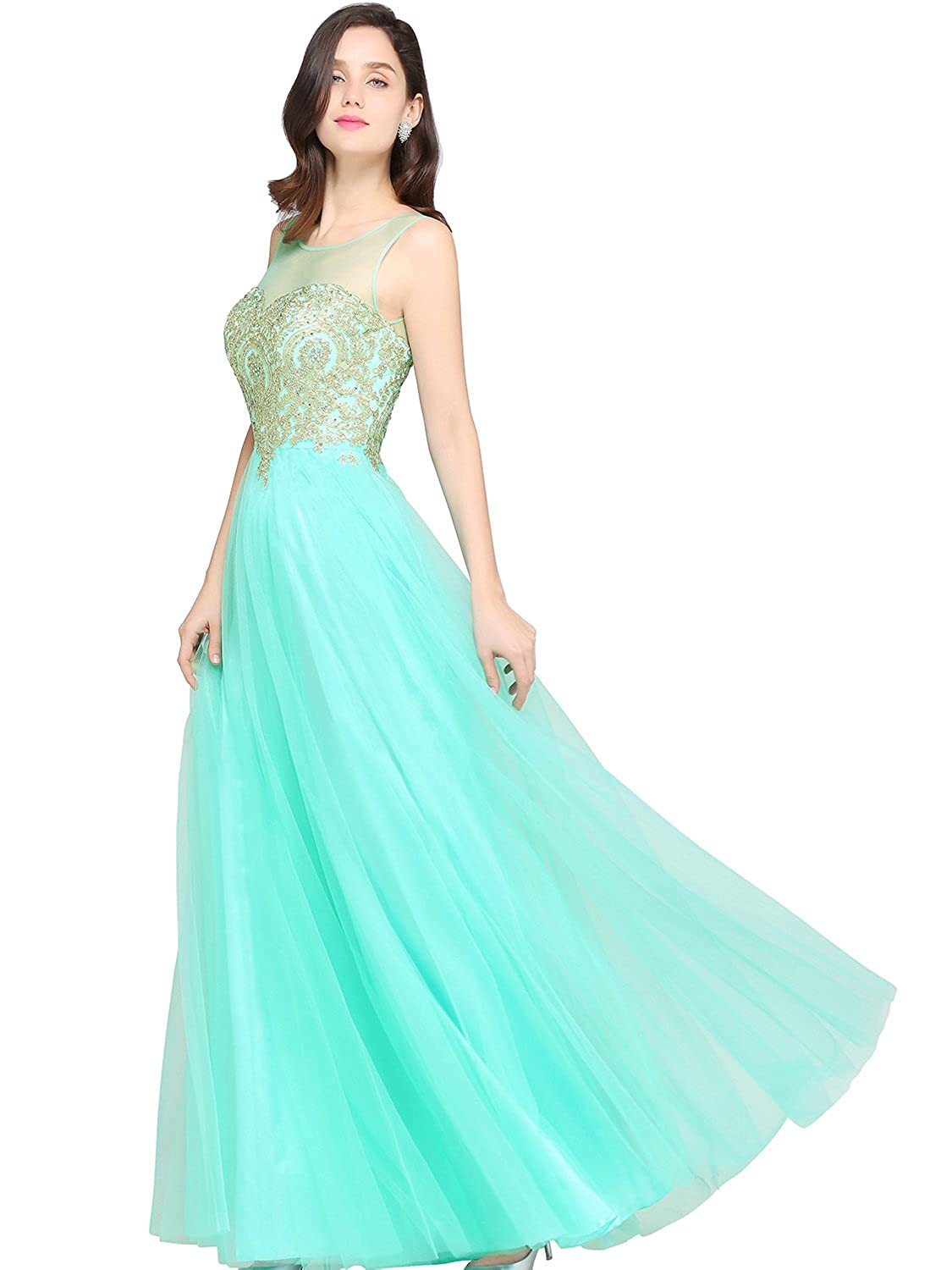 Amazon.com: Babyonline Blue Long Prom Lace Dresses Evening Gowns ...