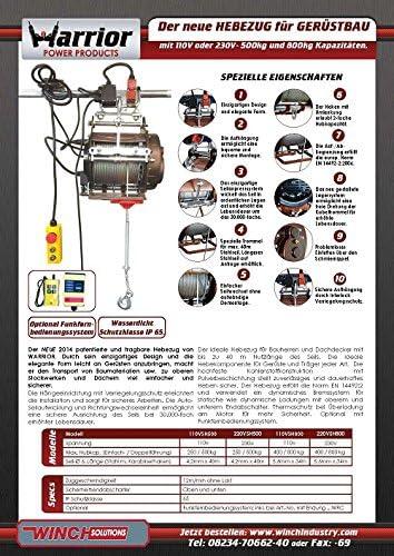Warrior ww220vsh500 de la Industria hebezug Cuerda grúa ...