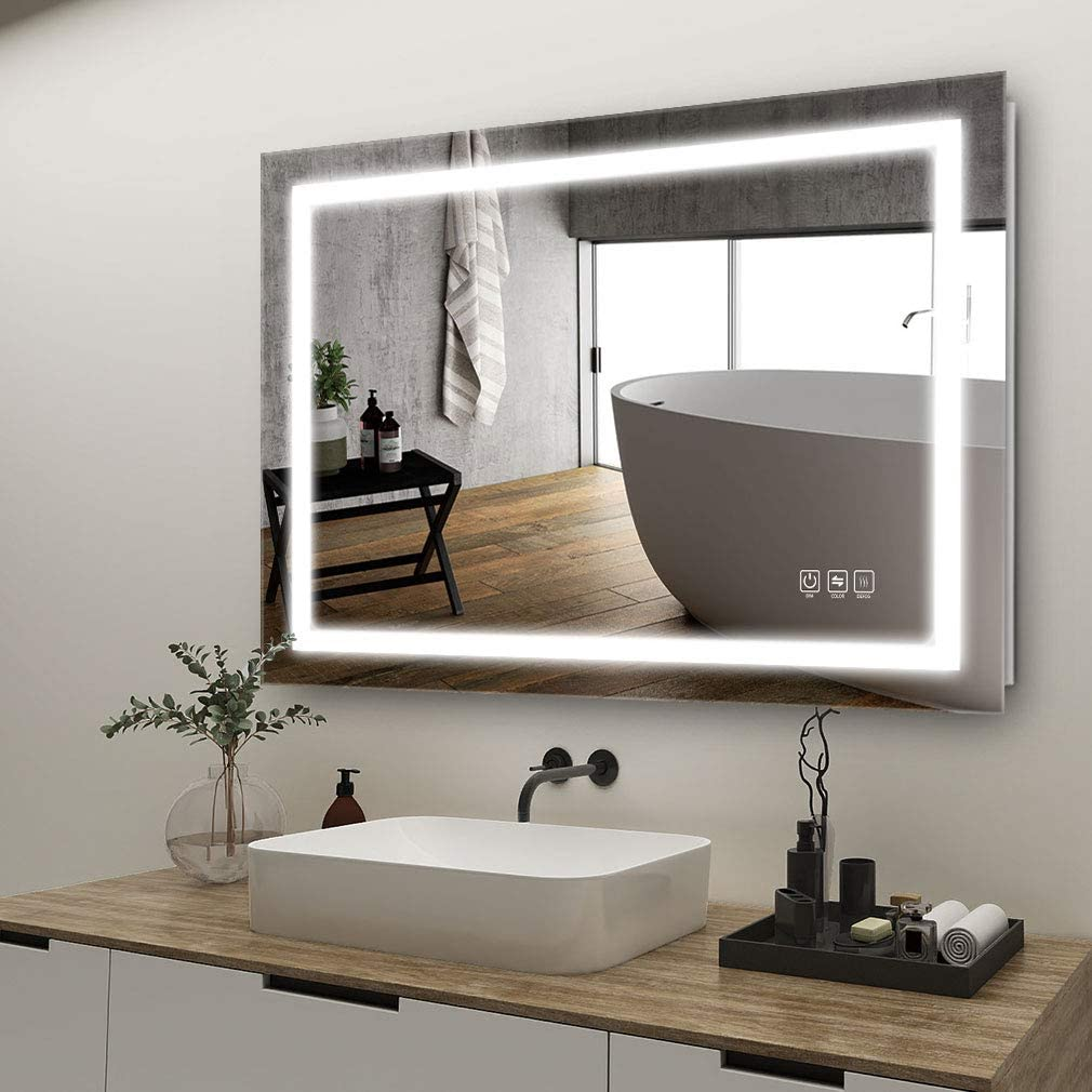 Amazon Com Anten 32x24 Inch Led Lighted Bathroom Mirror Wall Mounted Bathroom Vanity Mirror Dimmable Touch Switch Control 3000 6000k Adjustable Warm White Natural Daylight Lights Horizontal Vertical Home Kitchen