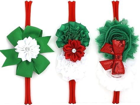 Satin flower set Baby Girl Christmas Bows Headbands Holiday Party Chiffon Shabby Hair Band