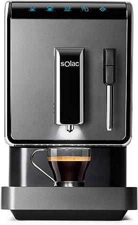 Solac-CA4810 Automatic Coffeemaker. Cafetera Súper Automática,19 bar, 1470W. Diseño compacto 18cm. Café en 40s. Capuccinador. Opción Autolavado. Café espresso, suave y favoritos personalizables. Negra: Amazon.es: Hogar