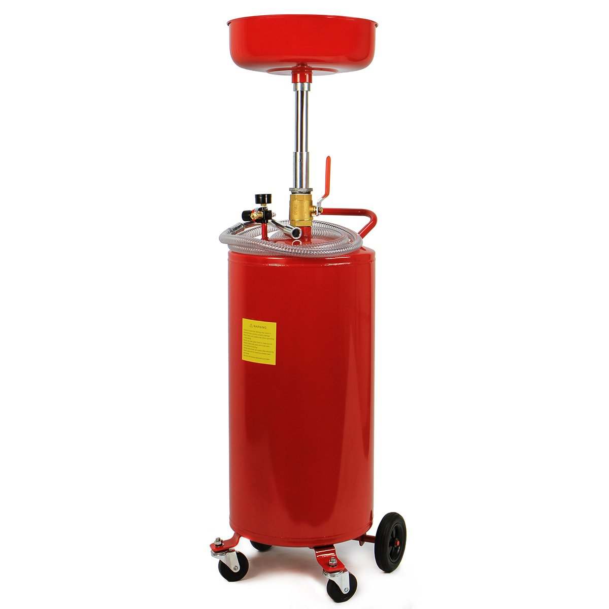 XtremepowerUS 20 Gallon Portable Waste Oil Drain Tank Air Operated Drainage Adjustable Funnel Height with Wheel, Red by XtremepowerUS