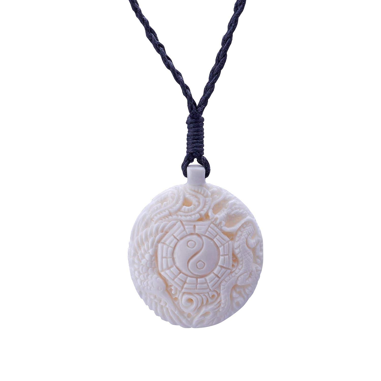 81stgeneration Womens Mens Hand Carved Bone Yin Yang Ching Taoist Dragon Phoenix Pendant Necklace