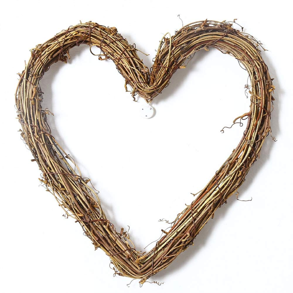 Liveinu Grapevine Wreath Twigs Vine Wreath Craft Natural Dried Wood Branch Wreath Base Front Door Decoration Heart Shape 3.9 Inch