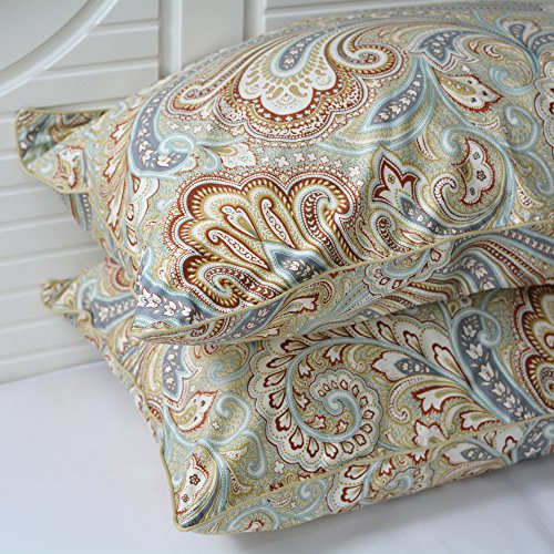 - Softta Paisley Design Khaki 1 Pair Pillow Cases (no Filling no Comforter) 20×30 inch 800 Thread Count 100% Egyptian Cotton Silky Soft Satin Pillow Covers