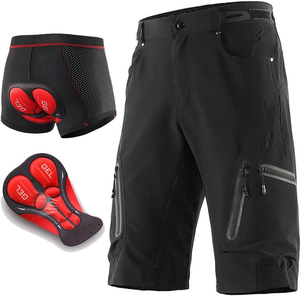 Loose Fit Shorts V/élo Respirant /À S/échage Rapide Pantalon V/élo Montagne avec 5D Rembourr/é Gel VTT Shorts De Descente pour Les Sports V/élo Hommes VTT Shorts De Cyclisme