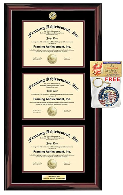 Amazon.com: Triple Certificate Frame License Framing Double State ...