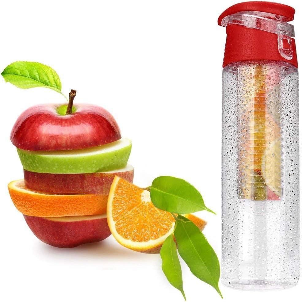 Botella de fruta infusor de agua, botella de 800 ml de agua a prueba de fugas deporte libre de BPA de gran capacidad for el aire libre que va de excursión Escalada Traveling School Oficina regalo y Ho