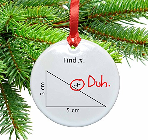 Find X Funny Math Ceramic Christmas Tree Ornament