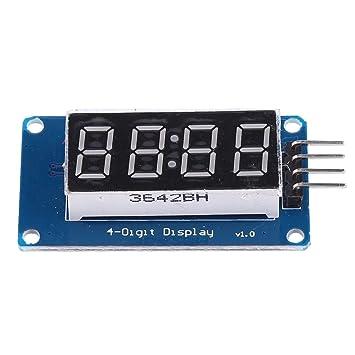 FLAMEER Exhibición del Reloj del Módulo De La Pantalla LED del Tubo Digital De 4 Dígitos para Arduino Pi: Amazon.es: Coche y moto
