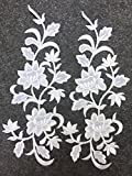 Two Big Flower Iron on Embroidered Appliques Patch Embroidered Lace Fabric Ribbon Trim Neckline Collar (White)