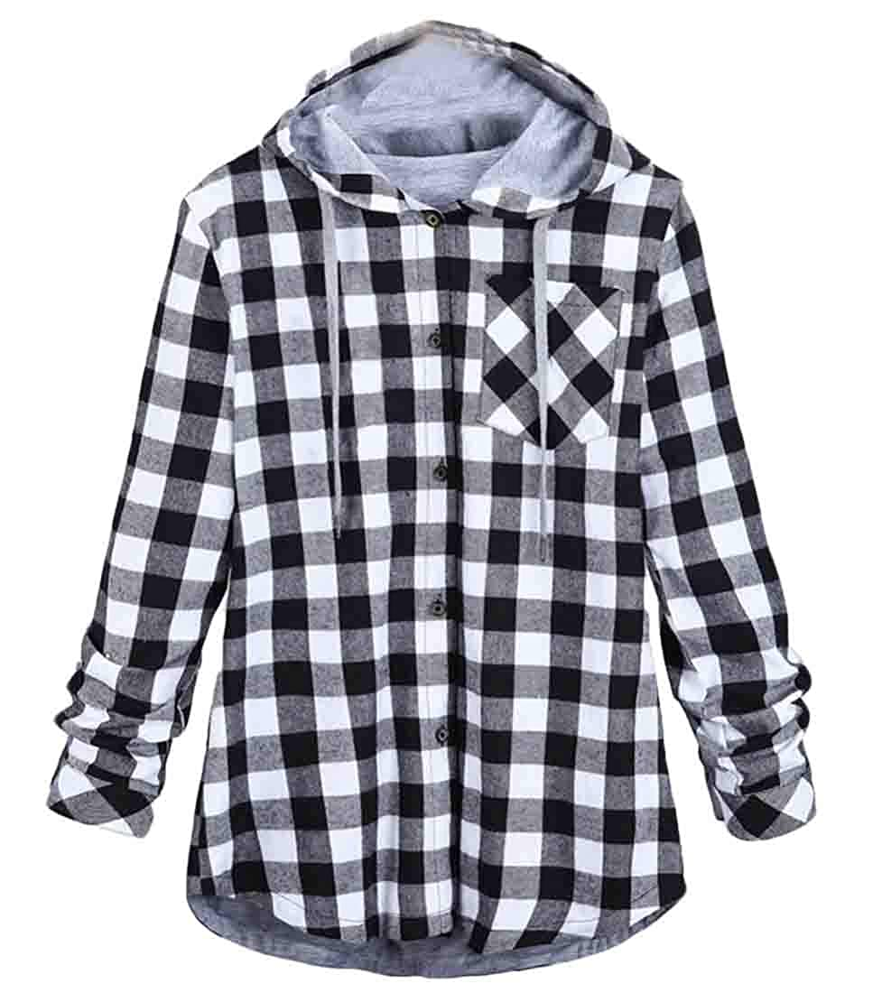 Spirio Men Chest Pocket Classic Drawstring Button Up Plaid Hoodie Shirts