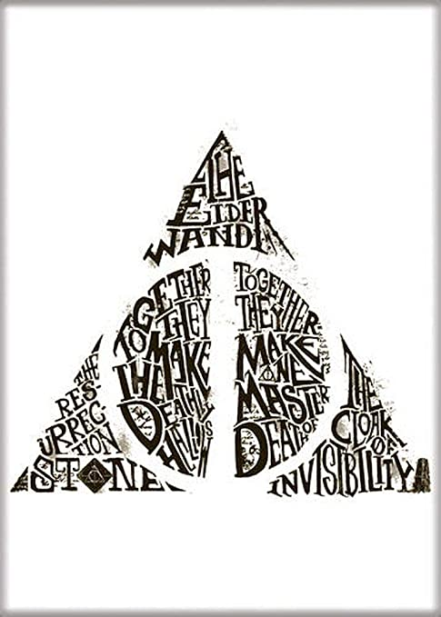 Ata-Boy Harry Potter Deathly Hallows in Words 6.4cm x 8.9cm Magnet for Refrigerators and Lockers