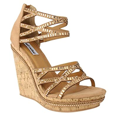 eb946f2a77d0 Not Rated NRWE0095 Coral Sea Tan Embellished Wedge Sandals (9.5)