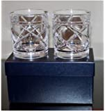 Ralph Lauren Home Brogan Classic Double Old Fashioned DOF Crystal Glasses in Gift Box