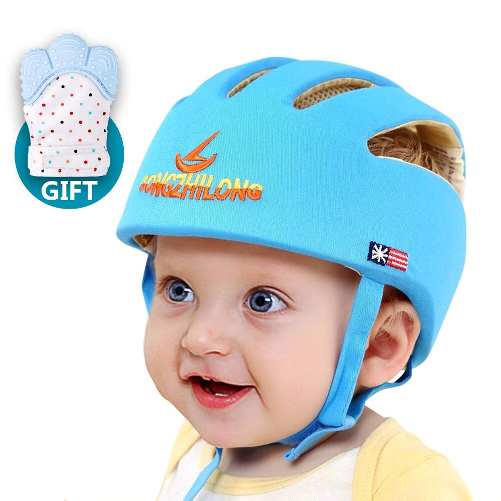 Infant Baby Safety Helmet, IULONEE Toddler Adjustable Protective Cap, Children Safety Headguard Harnesses Protection Hat for Running Walking Crawling with Baby Teething Mitten Glove Gift Babies (Blue)