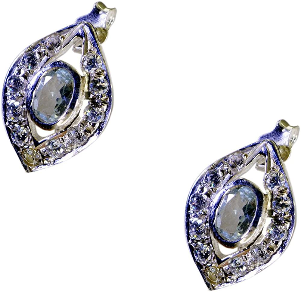Gemsonclick - Pendientes de topacio azul real para mujer, plata de ley 925, joyería de moda